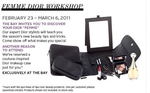 The Bay Canada: Femme Dior Workshop February 23 to March 6 Free ...