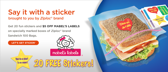 ziploc and mabel's labels promo: 20 free stickers and $5 off + free