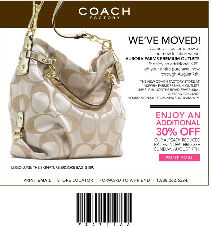 Coach factory outlet coupon march 2018