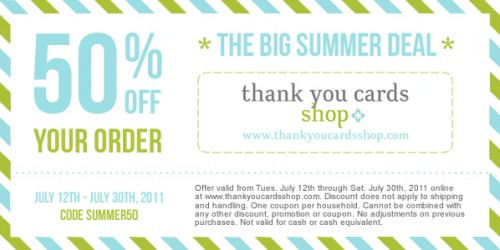 Thank You Cards Shop 50% Off Discount Coupon Code ...