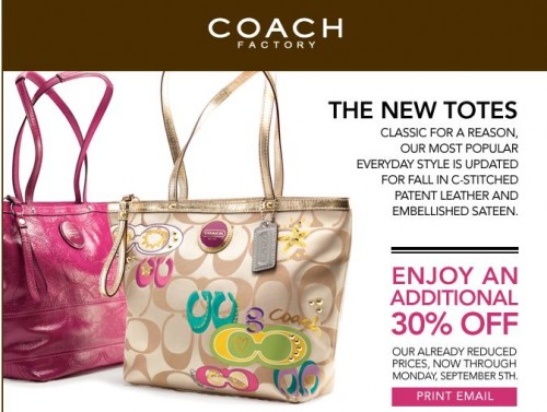 factory coach outlet 0ew9  Coach is offering another 30% off printable discount coupon code valid  until closing September 5th 2011! While they generally do hand out the  coupons