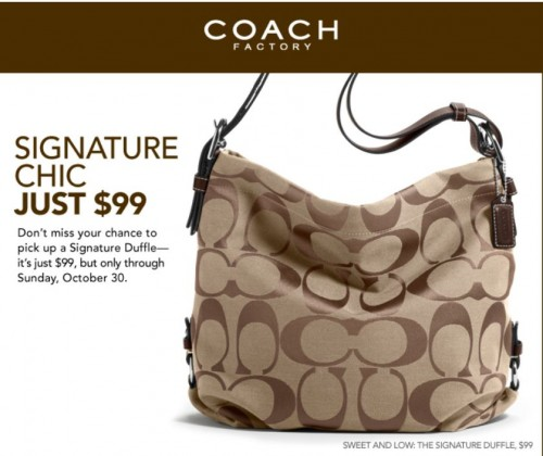 coach canada factory outlet signature duffle only 99. Black Bedroom Furniture Sets. Home Design Ideas