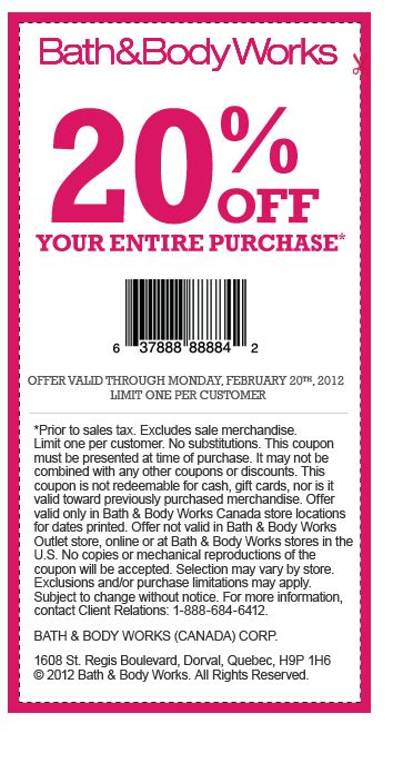 Bath and Body Works Canada Save 20 With Printable Coupon