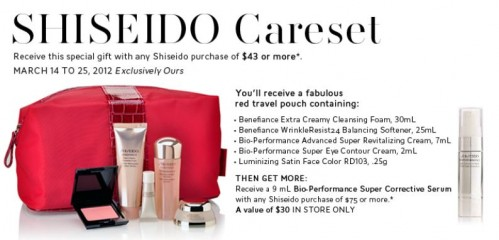 Now until the 25th receive a wonderful Shiseido gift when you spend $43 or more on their products before taxes. This gift with purchase is only available at ...