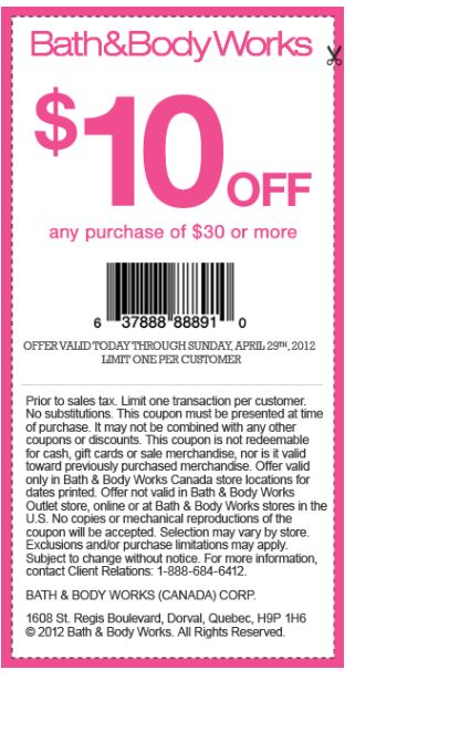 Bath and body works printable coupons 10 off 30 december