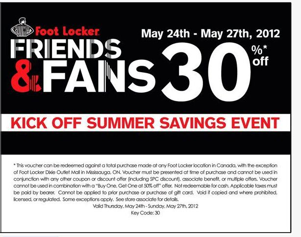 picture relating to Foot Locker Printable Coupons identify Foot Locker Canada: Close friends and Relatives Sale Conserve 30% Right up until