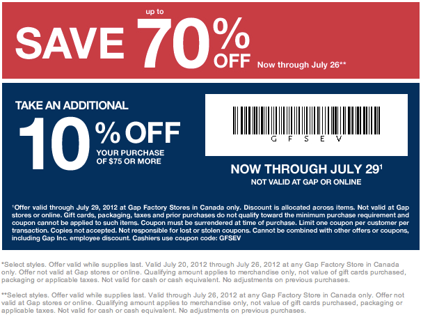 Print Coupon Printable Coupon Expires 12/31/18 Used 3 times today Sign Up for Mobile Offers Text Factory to to sign up for mobile offers from Gap Factory/5(18).