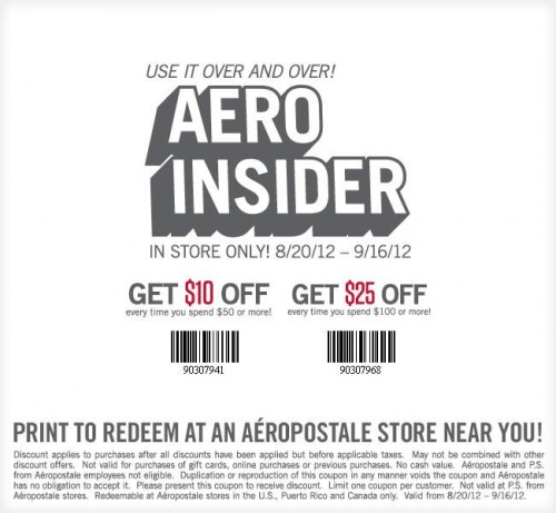 Aeropostale canada save 10 off 50 or 25 off 100 printable coupon