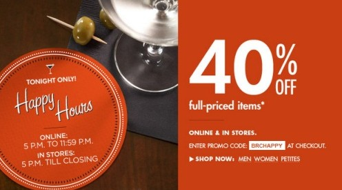 Banana Republic Canada Happy Hours Promotion 40 Off
