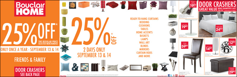 Bouclair Canada Friends And Family Sale Sept 13 14 Canadian