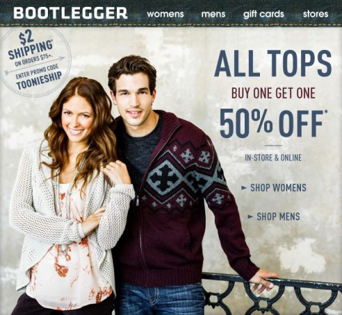 BOOTLEGGER is an online store that offers a wide selection of high quality jeans. The site also offers capris, fashion tops, shirts, fleece, sweaters and cardigans, tees, jackets, shorts, skirts and dresses, leggings, pants, accessories and jewelry.