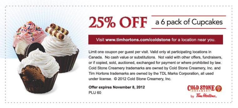 25% off a 6 pack of Cupcakes Use Cold Stone Coupon