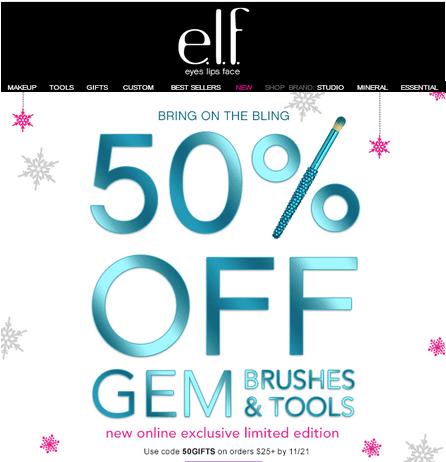 elf Coupon Code: 50% off New Gem Brushes – Online — Canadian
