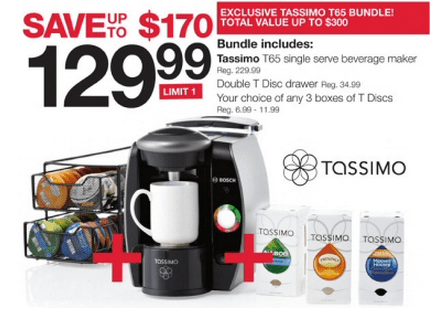 Home Outfitters Canada Deal: Tassimo T65 Beverage Maker Bundle For USD 129.99 (Save USD 170 ...