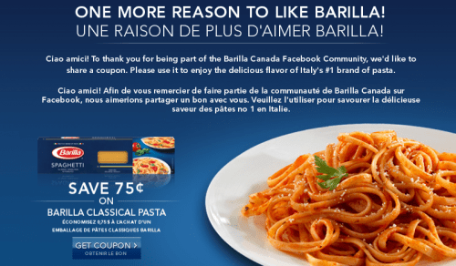 Barilla pasta coupons canada