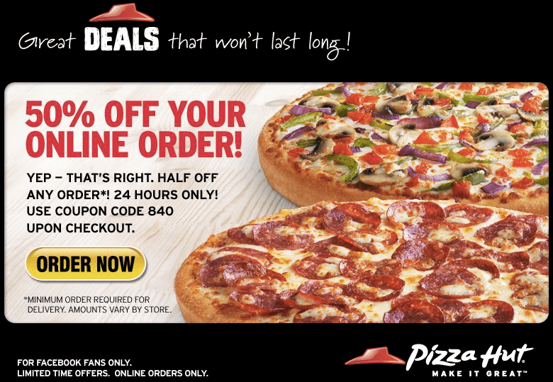 For a limited time, Pizza Hut is offering a Medium 3-Topping Pizza for just $6 (regularly $) when you enter promo code TEOMED3T6 at checkout! This appears to be valid for delivery or carryout and you can order more than one at this price. Note that you need to enter the promo code after each item is added to your cart and if you are ordering more than one pizza you must order each pizza.