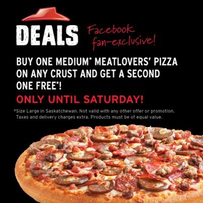 Pizza Hut Canada Coupon Codes. Pizza Hut, the world's largest pizza restaurant company, sells delicious pizza, wings, drinks and pasta dishes for delivery or carryout. It has over franchised restaurants across Canada. Whether you're craving a meat lover's pizza or just a handful of mozzarella sticks, you'll get them at Pizza Hut.