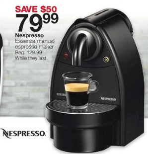 Coffee Maker Home Outfitters : Home Outfitters: Nespresso Essenza Manual Espresso Maker for USD 79.99 Canadian Freebies, Coupons ...