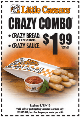 Visit a Little Caesars restaurant near you to find delicious chicken wings, free crazy bread and cheese pizza! Or order pizza online while you shop Little Caesars merchandise. Not all locations participate in all promotions, but every coupon on this page is validated as usable at some locations.