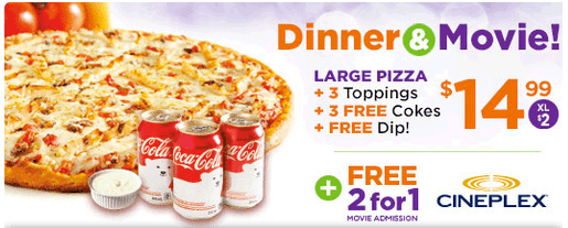 The Pizza Pizza Cineplex deal is back! Buy any Size 3 Topping Pizza and receive a coupon for a 2 for 1 Cineplex Movie Admission Promotion starts at $ and is valid on Small, Medium or Large, 3-Toppings, three cans of pop + 2 for 1 movie admission.