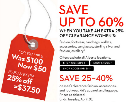 The Bay Canada Hudson S Bay Sale Save Up To 60 On