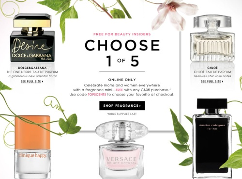 Sephora Canada  Free Deluxe Perfume Mini Sample With Online Purchase ... 88361e9e6517