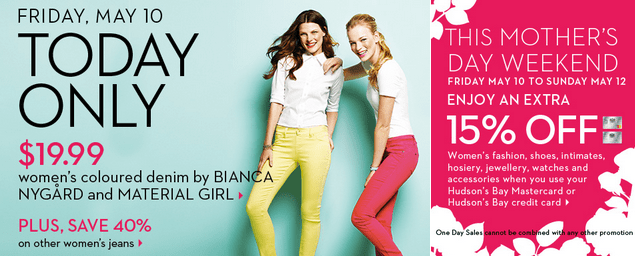 Hudson's Bay Deals For Mother's Day: Get Women's Coloured ...