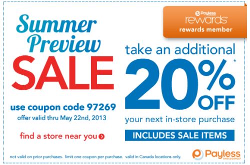 graphic about Payless Shoes Printable Coupon called Help you save 20% at Payless ShoeSource *Printable Coupon* Canadian