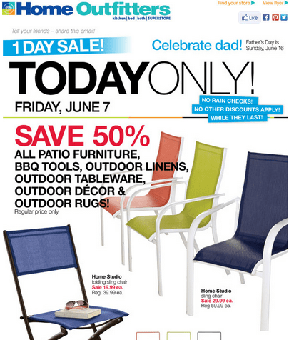 Home Outfitters 1 Day Sale For Father S Day Save 50 On All Patio Furniture Bbq Tools Outdoor