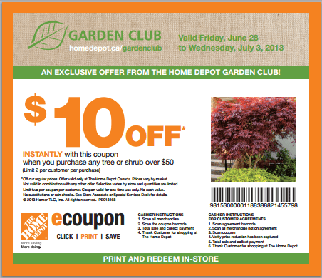 The Home Depot Garden Club Coupon Get 10 Off Canadian