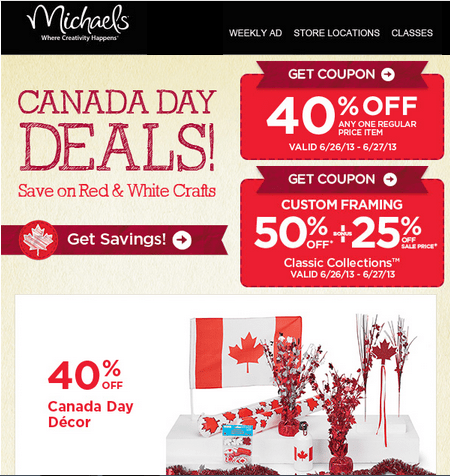 Find Michaels Coupons Canada & Online Codes. Check the current Michaels Coupon and save money with the crafts retailer in-store printable coupons, online promo codes & best deals. Michaels is one of the biggest craft stores in Canada and they sell a beautiful range of crafts and arts for all kinds of projects.