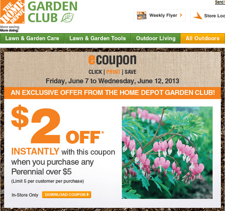 The Home Depot Garden Club 2 Off Instantly Coupon Canadian Freebies Coupons Deals Bargains
