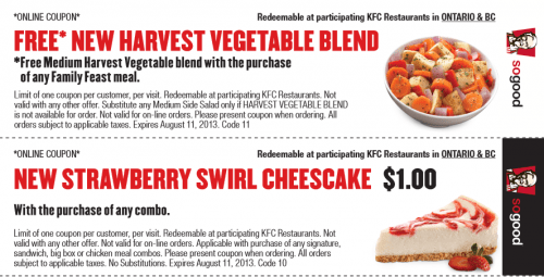 graphic about Kfc Coupons Printable known as KFC Printable Coupon codes Legitimate Throughout August 11 Canadian