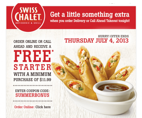 Swiss chalet delivery coupons