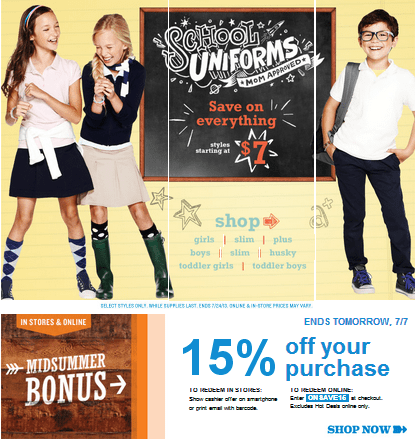 Old Navy has new offers. Get the school uniforms starting at $7. Also ...