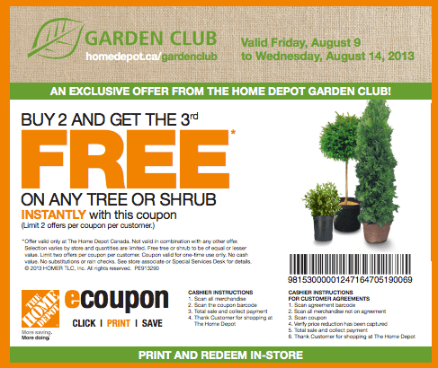 The home depot canada garden club coupons buy 2 get the - Home depot garden center coupons ...