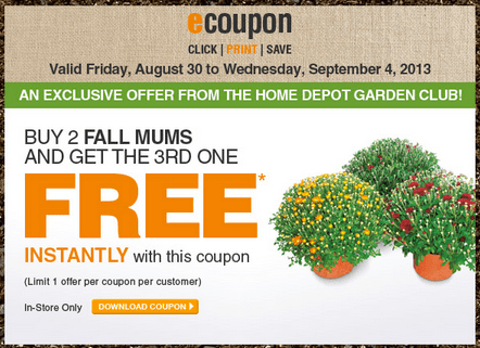The Home Depot Canada Garden Club Coupons Buy 2 Fall Mums Get The 3rd One Free Canadian