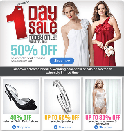 Sears Canada One Day Offers Get 50 Off Selected Bridal Dresses More Canadian Freebies Coupons Deals Bargains Flyers Contests Canada