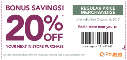 Payless20 off