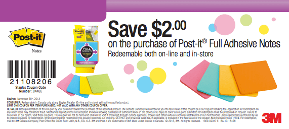 Post-It Full Adhesive Coupon