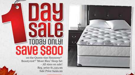 Sears Canada 1 Day Sale Save 800 On Simmons Beautyrest