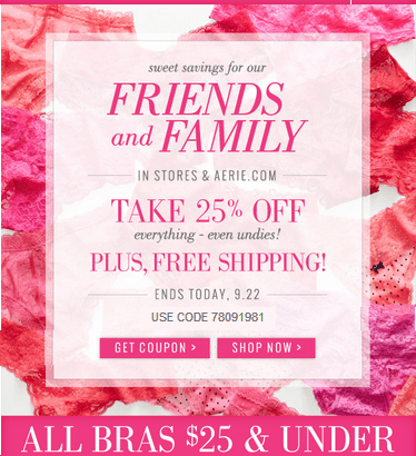 Aerie Canada Offers Get 25 Off Friends Family Free Shipping