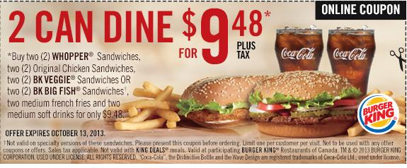 photo about Bk Printable Application identified as Burger King: 2 Can Dine For $9.48 *Printable Coupon