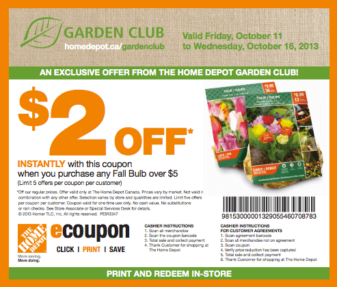 The Home Depot Garden Club Coupons Save 2 When You