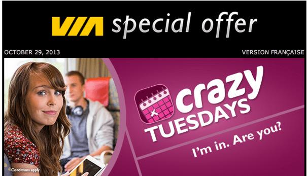 VIA Rail Canada Crazy Tuesdays