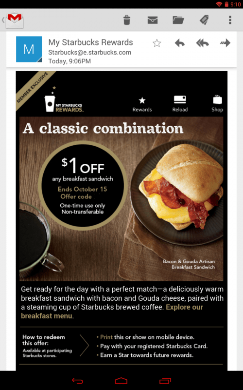 Starbucks $1 Off