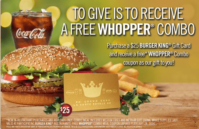 Burger King FREE Whopper Combo