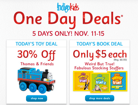 Chapters Indigo One Day Deals
