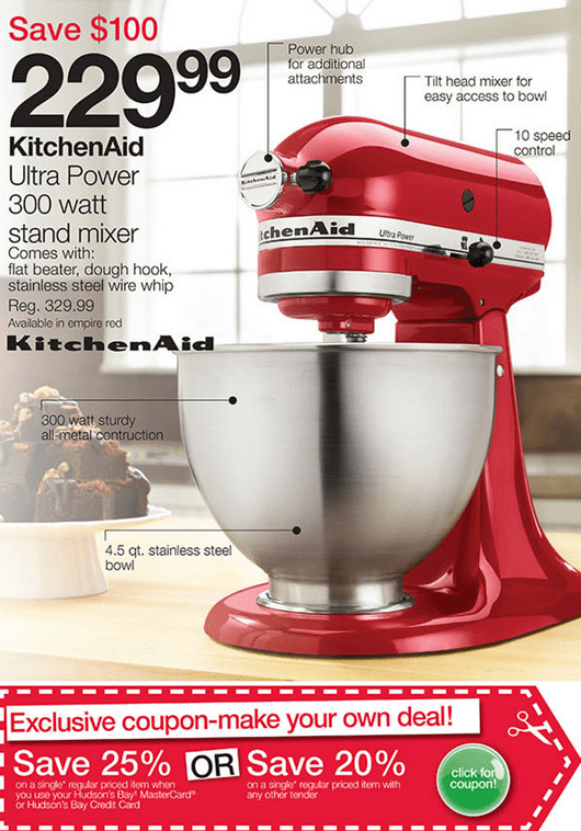 home outfitters canada black friday 2013 pre sale kitchenaid ultra power stand mixer for 229. Black Bedroom Furniture Sets. Home Design Ideas