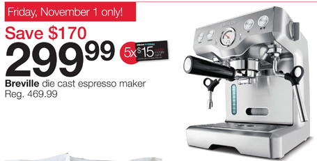 Home Outfitters Canada Offers + Coupon: Get Breville Die Cast Espresso Maker For USD 299.99, Save ...